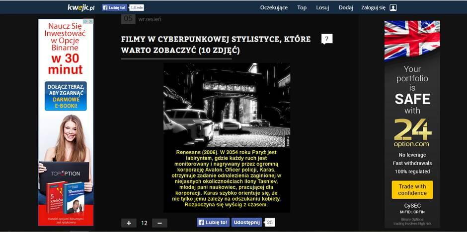 Zarabianie na AdSense - przykłady stron - Kwejk