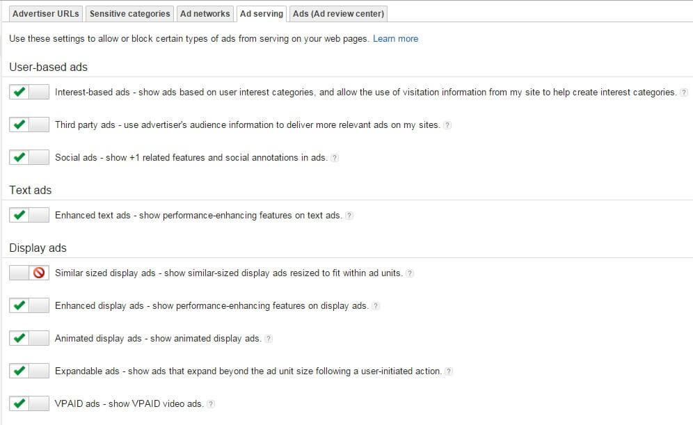Zarabianie na Google AdSense - ustawienia reklamy