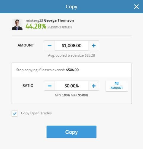 Handel na eToro - wybór kwoty