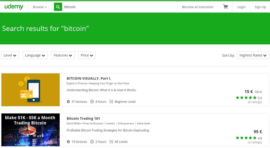 Kursy online o bitcoin na portalu Udemy