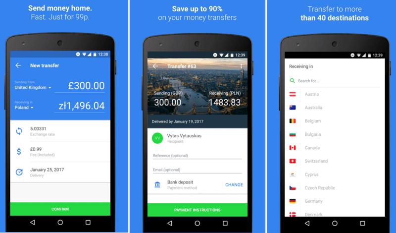Aplikacja TransferGo - wygląd